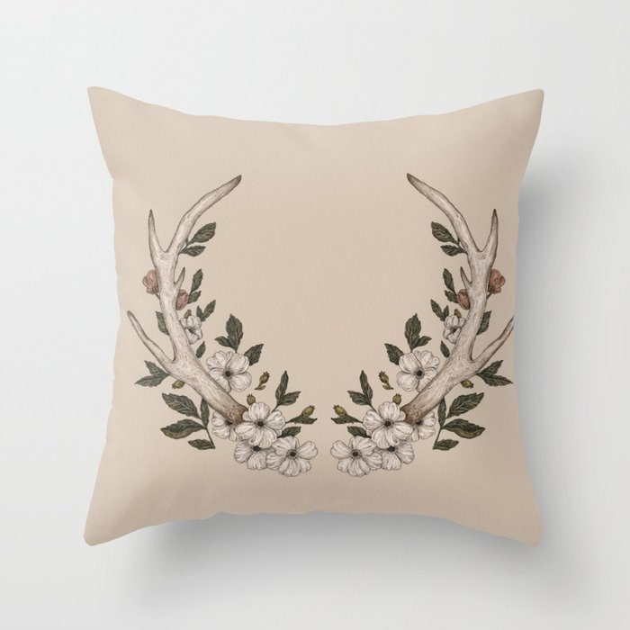 Floral Antler Throw Pillow by jessicaroux Society6