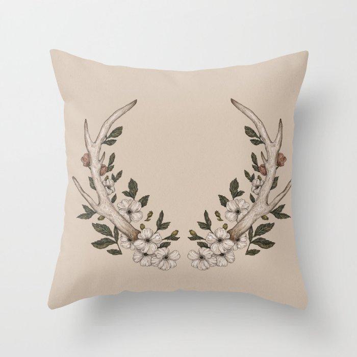 Antler Throw Pillow : Floral Antler Throw Pillow by jessicaroux Society6