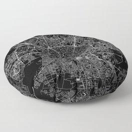 Bucharest Black Map Floor Pillow