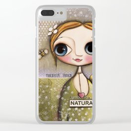 Doll big blue eyes with bee and snail Clear iPhone Case