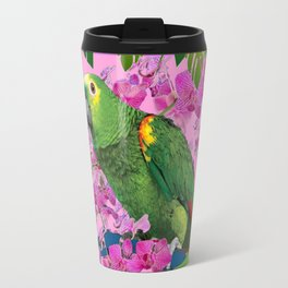 TROPICAL GREEN PARROT JUNGLE ART  ART DESIGN Travel Mug