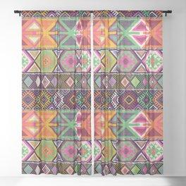 Aztec Artisan Tribal Bright Sheer Curtain