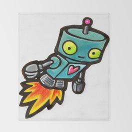 Robot - Love Rocket Throw Blanket