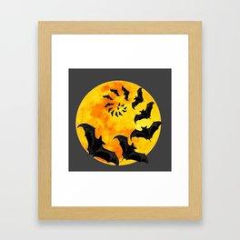 HALLOWEEN BAT INFESTED HAUNTED MOON ART DESIGN Framed Art Print