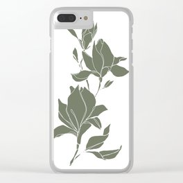 Botanical illustration line drawing - Magnolia Green Clear iPhone Case