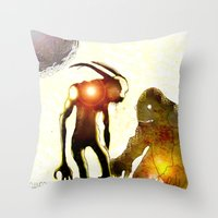 monsters Throw Pillows featuring Monsters by Joe Ganech