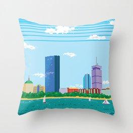 Pixel Boston Skyline Throw Pillow