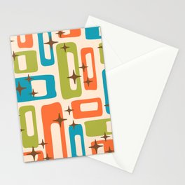 Retro Mid Century Modern Abstract Pattern 921 Orange Chartreuse Turquoise Stationery Cards