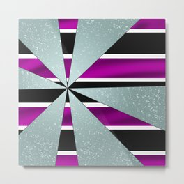 4Shades Glass: Purple B/W Metal Print