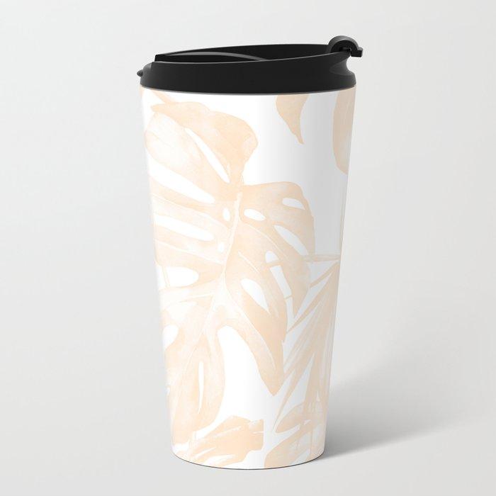 Island Vacation Hibiscus Palm Light Mango Metal Travel Mug