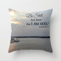 scripture Throw Pillows featuring Hilton Head Island, Scripture by Stephanie Stonato