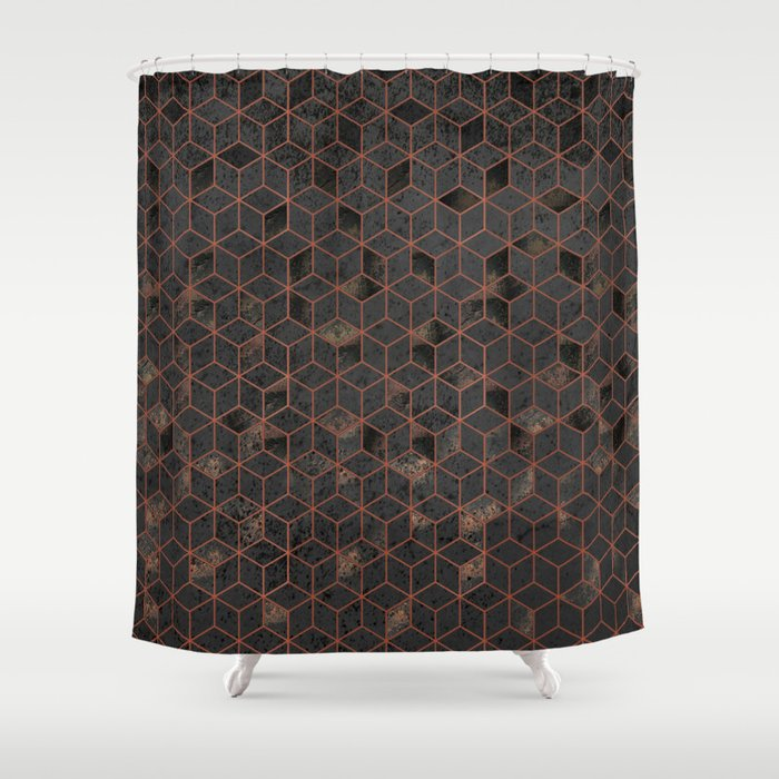 Copper Gold And Black Hexagons Geometric Pattern Shower Curtain
