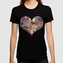 Dream with Books - Love of Reading Bookshelf Collage T-shirt