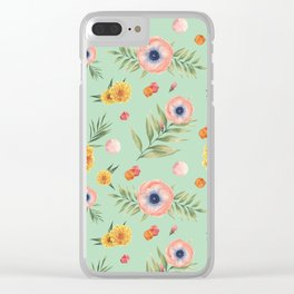 Hand painted coral yellow watercolor geometric floral Clear iPhone Case