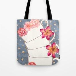 Floral Coffee Cups Tote Bag