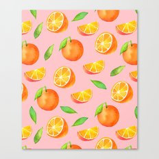 Watercolor Oranges Pattern 2 Canvas Print