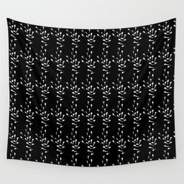 Black and White Sprig Pattern Wall Tapestry