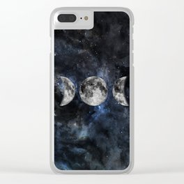 Moon Phases Luna Watercolor  2 Clear iPhone Case