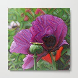DeepDream Flowers, Poppy, DeepDream style Metal Print