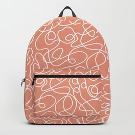 Doodle Line Art | White Lines on Coral Background Backpack