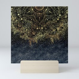 Stylish Gold floral mandala and confetti Mini Art Print