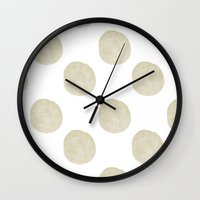 gold dots Wall Clocks featuring Gold Watercolor Dots Happy by Zen and Chic