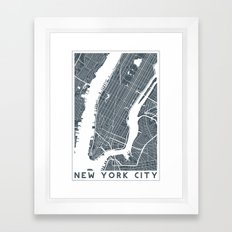 New York City map Framed Art Print
