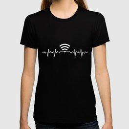 Wifi In My Heartbeat Computer Geek  T-shirt