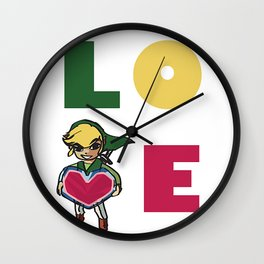 Link Holding a Heart Package LOVE Wall Clock