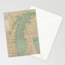 Vintage Lake Michigan Lighthouse Map (1898) Stationery Cards