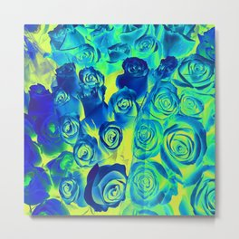 bouquet of roses texture pattern abstract in blue and green Metal Print