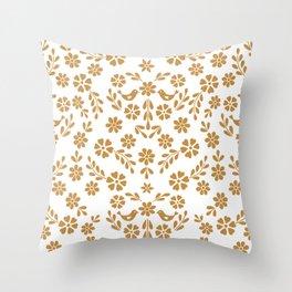 Golden floral symmetric birds heart Throw Pillow