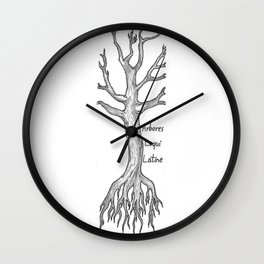 Arbores Loqui Latine Black and White Wall Clock
