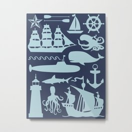 Totally Nautical Navy and Light Blue Metal Print