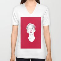miley V-neck T-shirts featuring Miley by Fernando Monroy Robles