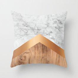 Stone Arrow Pattern - White Marble, Rose Gold & Wood #924 Throw Pillow