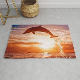 Phenomenal Super Cute Dolphin Jumping Water Romantic Sunset Ultra HD Rug