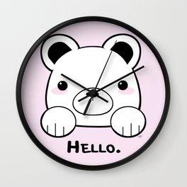 Pink Girly Girl Hello Bear Kawaii! Awww She Just Wants To say Hello! Wall Clock
