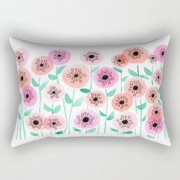 Pink and Peach Floral Watercolor Painting Rectangular Pillow