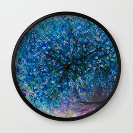Bouquet Of Forget Me Nots by Lena Owens Wall Clock