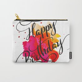 Modern typography Happy Birthday On paint blot Carry-All Pouch