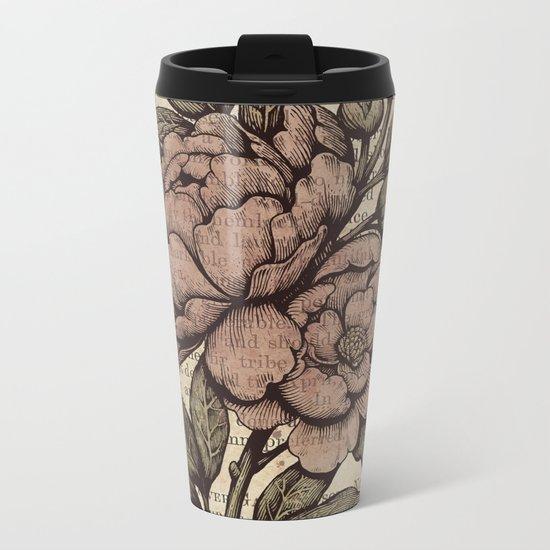 Peonies  - Color Metal Travel Mug