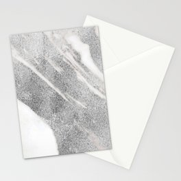 Marble - Silver Glitter on White Metallic Marble Pattern Stationery Cards