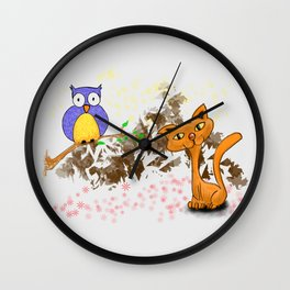 gufo e gatto 1 Wall Clock