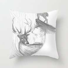 Stag and man Throw Pillow