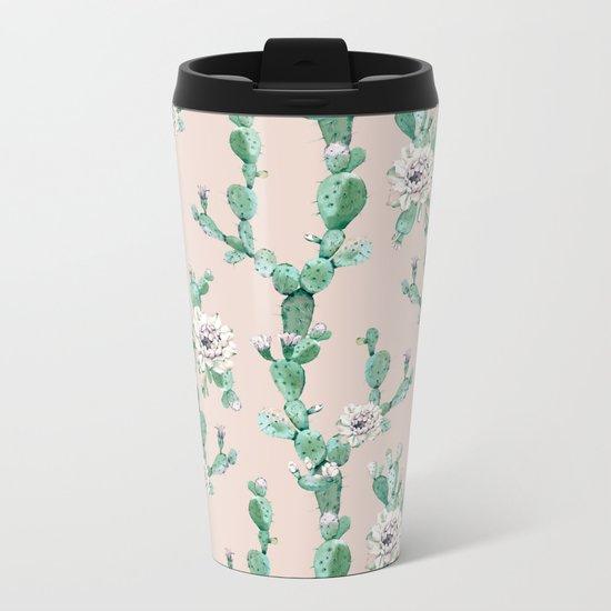 Green Coral Pink Cactus Rose Pattern Metal Travel Mug