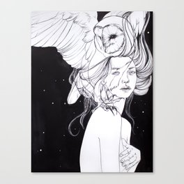 Woman with Owl Familiar Canvas Print
