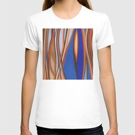 Retro Blues Browns Oranges Line Design with Pastels by annmariescreations T-shirt