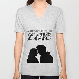 Marius & Cosette - A Heart Full of Love Silhouette Minimalist Unisex V-Neck
