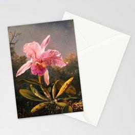 Martin Johnson Heade Cattleya Orchid and Three Brazilian Hummingbirds Stationery Cards